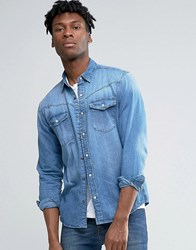 Pull And Bear Pullandbear Western Denim Shirt In Mid Wash Blue In Regular Fit Blue