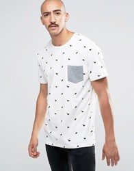 Only And Sons T Shirt With Bird Print Pocket Cloud Dancer White