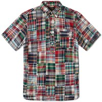 Beams Plus Short Sleeve Popover Patchwork Shirt Red