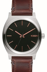 Nixon 'The Time Teller' Leather Strap Watch 37Mm Brown Silver Black
