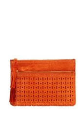 Shiraleah Emma Suede Zip Pouch Orange
