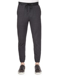 Vince Denim Jogger Pants With Leather Waist Black