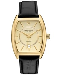 Kenneth Cole Men's Diamond Accent Black Leather Strap Watch 38X48mm 10030818 Black Gold