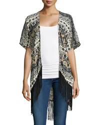Romeo And Juliet Couture Mixed Print Fringe Hem Kimono Taupe Gray