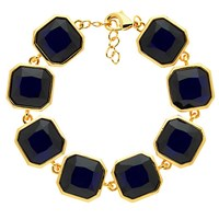 Monet Glass Crystal Bracelet Gold Indigo
