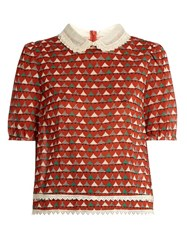 Red Valentino Heart Print Lace Collar Top