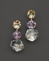 Vianna Brasil 18K Yellow Gold Earrings With Pink Amethyst Citrine Prasiolite And Diamond Accents Multi Gold