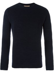Nuur Ribbed Crew Neck Jumper Blue