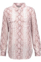 Equipment Snake Print Washed Silk Blouse Baby Pink