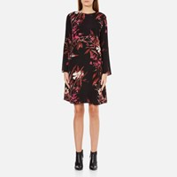 Gestuz Women's Demi Printed Dress With Bell Sleeve Black Pink Flower Print