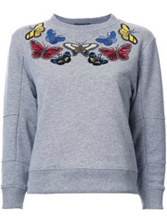 Alexander Mcqueen Embellished Butterfly Swetshirt Grey