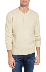 Schott Nyc Men's Thermal Henley Off White