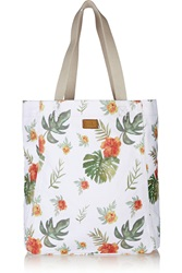 Soludos Floral Print Cotton Canvas Tote White