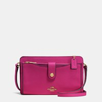 Coach Messenger With Pop Up Pouch In Pebble Leather Light Gold Cerise
