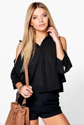 Boohoo Cold Shoulder Ruffle Collar Blouse Black