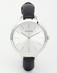 Pilgrim Sterling Silver Clean Watch With Leather Strap Black
