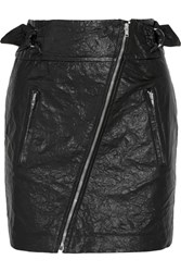 Isabel Marant Breezy Crinkled Faux Leather Mini Skirt Black