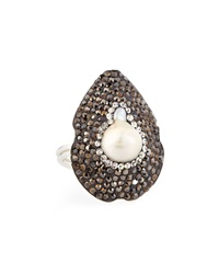 Zsa Zsa Baroque Pearl And Hematite Ring Adjustable 6