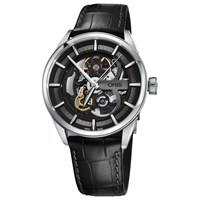 Oris 734 7714 4054 07 5 19 81Fc Men's Artix Skeleton Automatic Leather Strap Watch Black