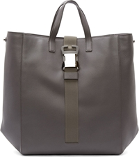 Christopher Kane Grey Grained Leather Safety Buckle Tote
