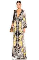 Etro Beaded Long Dress In Yellow Floral Abstract
