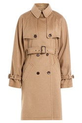 Alberta Ferretti Camel Hair Belted Trench Coat Camel