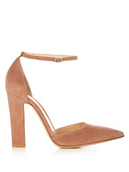 Gianvito Rossi Mary Jane Point Toe Suede Pumps Nude