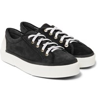 Lanvin Rubber Trimmed Suede Sneakers Black
