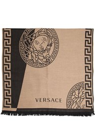 Versace Two Tone Fine Wool Jacquard Knit Scarf