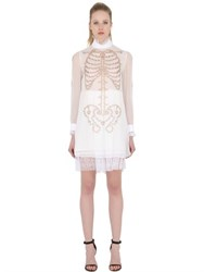 Dagda Skeleton Print Techno Chiffon Dress