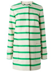 Lk Bennett L.K. Briley Stripe Coat Green White