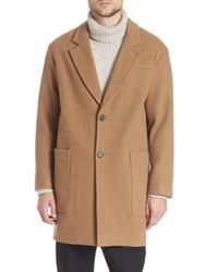 Ami Alexandre Mattiussi Wool Blend Two Button Coat Camel