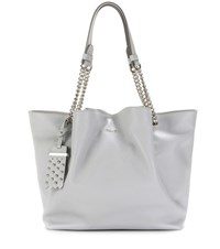 Tod's Flower Media Leather Tote Grey
