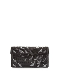 Nancy Gonzalez Painted Cranes Crocodile Clutch Bag Black Anthracite Black Anthracite