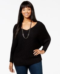 Jessica Simpson Plus Size Cory Three Quarter Sleeve V Neck Sweater Black