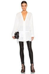 Ann Demeulemeester Belted Collarless Blouse In White