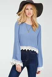 Forever 21 Crochet Trimmed Bell Sleeve Top