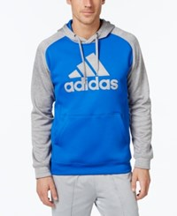 Adidas Men's Team Issue Pullover Fleece Hoodie Blue Light Grey
