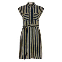 Louche Kristen Stripe Shirt Dress Navy Yellow