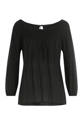 Velvet Blouse With Self Tie Back Black