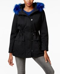 Madden Girl Faux Fur Trim Hooded Parka Black Blue