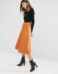 Warehouse Fit And Flare Knitted Skirt Orange