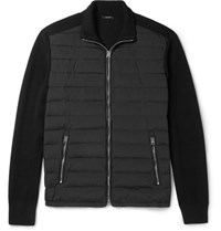 Tom Ford Quilted Shell Panelled Ribbed Wool Zip Up Cardigan Black