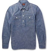 The Workers Club Slim Fit Cotton Chambray Shirt Blue