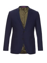 Mathieu Jerome Single Breasted Two Button Wool Blazer Blue