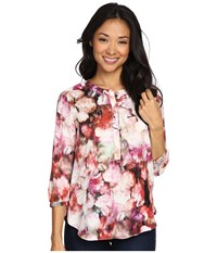Nydj Petite Solid 3 4 Sleeve Pleat Back Renaissance Floral Women's Long Sleeve Pullover Multi