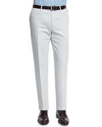 Canali Cotton Stretch Flat Front Trousers Light Gray Light Grey