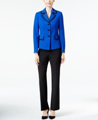 Le Suit Three Button Colorblocked Pantsuit Cobalt Black