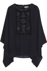 Tory Burch Embellished Silk Georgette Top Midnight Blue