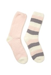 Forever 21 Striped Fuzzy Sock Set Light Pink Cream